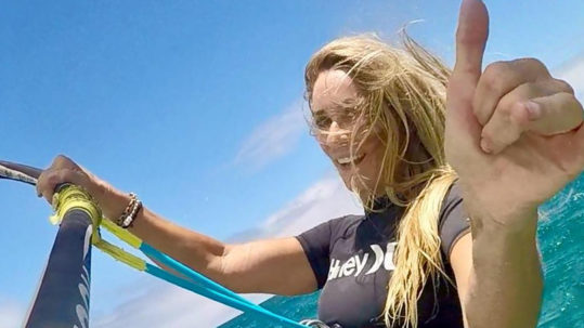 Paula sailing with the Ride Engine Windsurfing Harness